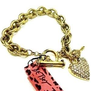 Betsey Johnson Vintage Iconic Heart Charm Bracelet